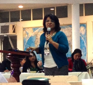 Rocio Carmona, Christian education leader in Oaxaca, speaking at MeXED 2014