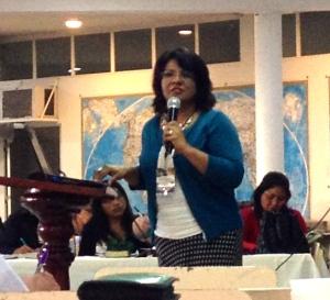 Rocio Carmona, Christian education leader in Oaxaca, speaking at MeXED 2014