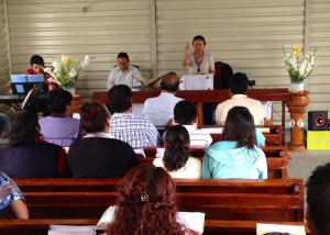 Francelia preaching on Good Friday in Amecameca, Mexico