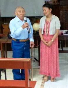 Father of FIVE pastors, 101 year old, Marcelino Coyoc Dzul, joins Francelia in exhorting parents and leaders to a greater commitment to Christian education in the home and the church ~ Campeche