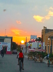 Sunset in the Mayan community of Dzilbache, Campeche.