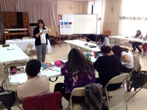 Erika, class participant in Puebla, practicing an AMO lesson.
