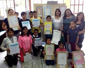 Student's art class in Puebla Christian school