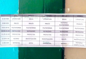 Daily class schedule in Puebla