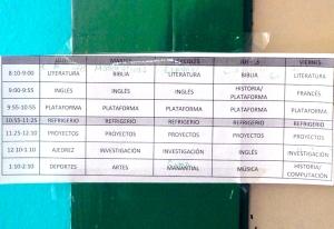 Daily class schedule in Puebla