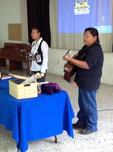 Francelia with our friend Anita Torres leading praise before class in Orizaba.