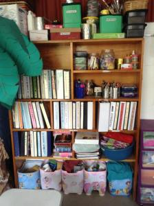 Children's binders and materials collected from church members